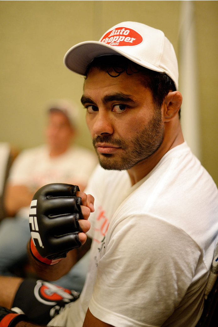 MASHANTUCKET, CT - SEPTEMBER 5:  Rafael Natal warms up backstage during the UFC Fight Night event inside the Grand Theatre at Foxwoods Resort Casino on September 5, 2014 in Mashantucket, Connecticut. (Photo by Jeff Bottari/Zuffa LLC/Zuffa LLC via Getty Images)