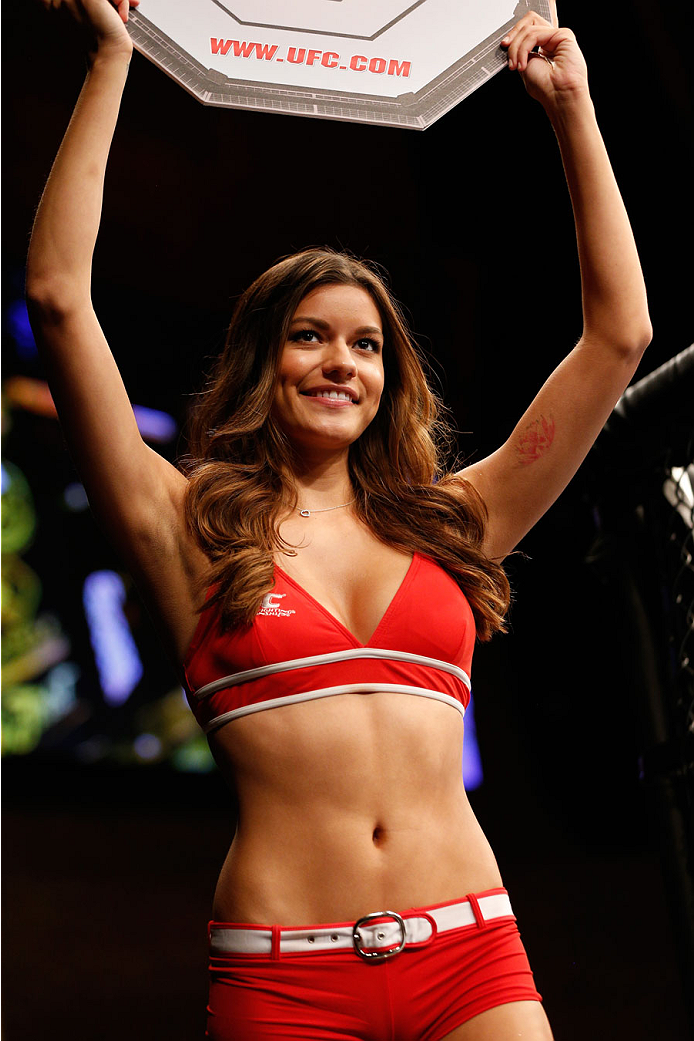 MASHANTUCKET, CT - SEPTEMBER 05:  UFC Octagon Girl Vanessa Hanson introduces a round during the UFC Fight Night event at Foxwoods Resort Casino on September 5, 2014 in Mashantucket, Connecticut.  (Photo by Josh Hedges/Zuffa LLC/Zuffa LLC via Getty Images)