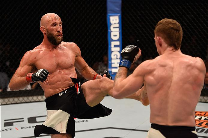 LAS VEGAS, NV - MAY 29: (L-R) Joshua Burkman kicks Paul Felder in their lightweight bout during the UFC Fight Night event inside the Mandalay Bay Events Center on May 29, 2016 in Las Vegas, Nevada.  (Photo by Josh Hedges/Zuffa LLC/Zuffa LLC via Getty Images) *** Local Caption *** Joshua Burkman; Paul Felder