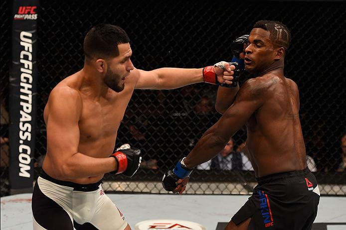 LAS VEGAS, NV - MAY 29: (L-R) Jorge Masvidal punches Lorenz Larkin in their welterweight bout during the UFC Fight Night event inside the Mandalay Bay Events Center on May 29, 2016 in Las Vegas, Nevada.  (Photo by Josh Hedges/Zuffa LLC/Zuffa LLC via Getty Images) *** Local Caption *** Jorge Masvidal; Lorenz Larkin