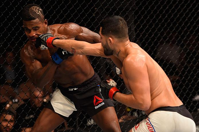 LAS VEGAS, NV - MAY 29: (R-L) Jorge Masvidal punches Lorenz Larkin in their welterweight bout during the UFC Fight Night event inside the Mandalay Bay Events Center on May 29, 2016 in Las Vegas, Nevada.  (Photo by Josh Hedges/Zuffa LLC/Zuffa LLC via Getty Images) *** Local Caption *** Jorge Masvidal; Lorenz Larkin