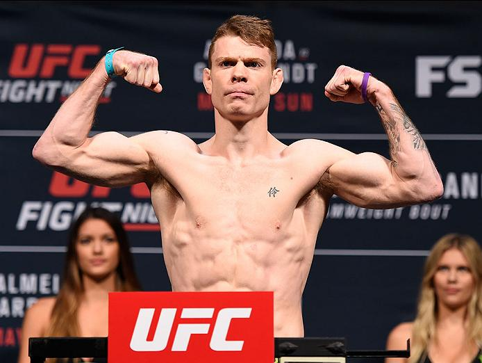 LAS VEGAS, NV - MAY 28:   Paul Felder steps on the scale during the UFC Fight Night weigh-in at the Mandalay Bay Events Center on May 28, 2016 in Las Vegas, Nevada. (Photo by Josh Hedges/Zuffa LLC/Zuffa LLC via Getty Images)