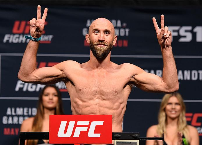 LAS VEGAS, NV - MAY 28:   Joshua Burkman steps on the scale during the UFC Fight Night weigh-in at the Mandalay Bay Events Center on May 28, 2016 in Las Vegas, Nevada. (Photo by Josh Hedges/Zuffa LLC/Zuffa LLC via Getty Images)
