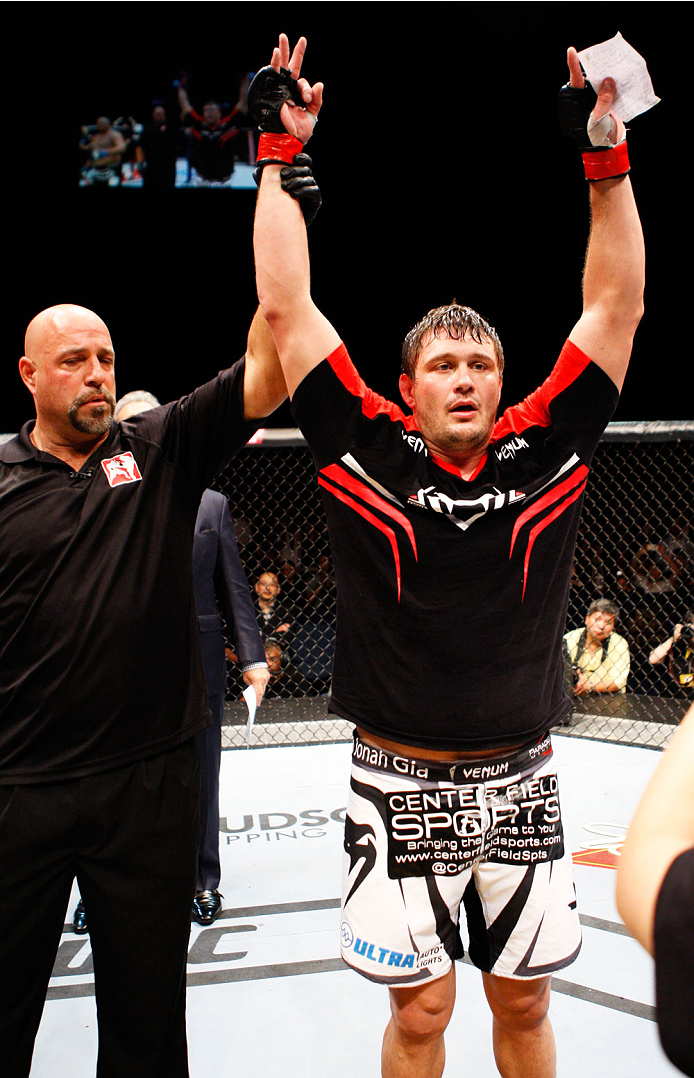 MACAU - MARCH 01:  Matt Mitrione celebrates after his win over Shawn Jordan in their heavyweight fight during the UFC Fight Night event at the Venetian Macau on March 1, 2014 in Macau. (Photo by Mitch Viquez/Zuffa LLC/Zuffa LLC via Getty Images)