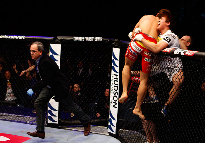 MACAU - MARCH 01:  Dong Hyun Kim celebrates with his corner after knocking out John Hathaway in their welterweight fight during the UFC Fight Night event at the Venetian Macau on March 1, 2014 in Macau. (Photo by Mitch Viquez/Zuffa LLC/Zuffa LLC via Getty Images)