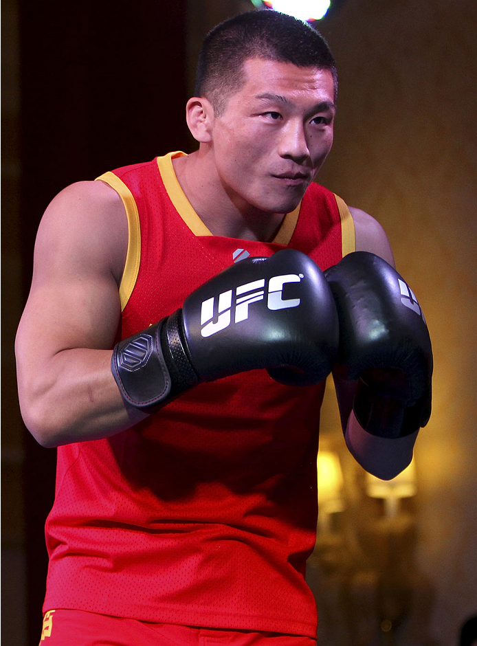 MACAU - FEBRUARY 27:  Zhang Lipeng holds an open training session for media at Venetian Macao on February 27, 2014 in Macau. (Photo by Mitch Viquez/Zuffa LLC/Zuffa LLC via Getty Images)