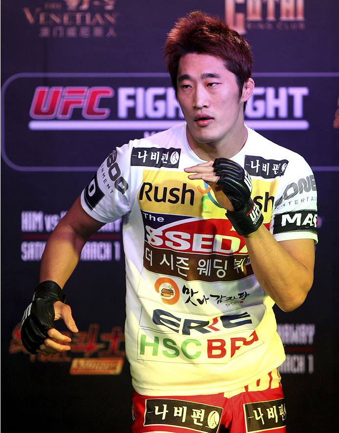 MACAU - FEBRUARY 27:  Dong Hyun Kim holds an open training session for media at Venetian Macao on February 27, 2014 in Macau. (Photo by Mitch Viquez/Zuffa LLC/Zuffa LLC via Getty Images)
