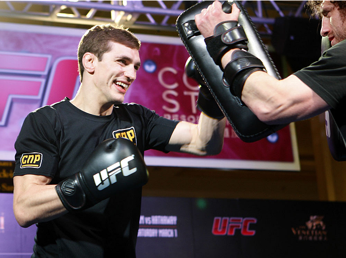 MACAU - FEBRUARY 27:  John Hathaway works out for the media during the UFC Fight Night Macao Kim vs. Hathaway Media Day at Venetian Macao on February 27, 2014 in Macau, Macau. (Photo by Mitch Viquez/Zuffa LLC/Zuffa LLC via Getty Images)