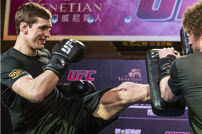 MACAU - FEBRUARY 27:  John Hathaway works out for the media during the UFC Fight Night Macao Kim vs. Hathaway Media Day at Venetian Macao on February 27, 2014 in Macau, Macau.  (Photo by Xaume Olleros/Zuffa LLC)
