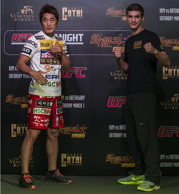 MACAU - FEBRUARY 27:  (L-R) Dong Hyum Kim and John Hathaway pose for media at Venetian Macau on February 27, 2014 in Macau, Macau. (Photo by Xaume Olleros/Zuffa LLC)