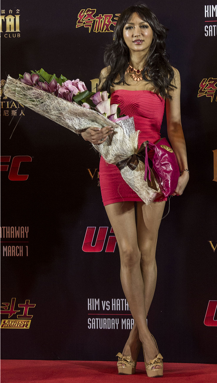MACAU - FEBRUARY 27:  Azusa Nishigaki attends UFC Fight Night Macao: Kim vs. Hathaway Media Day at Venetian Macau on February 27, 2014 in Macau, Macau.  (Photo by Xaume Olleros/Zuffa LLC)