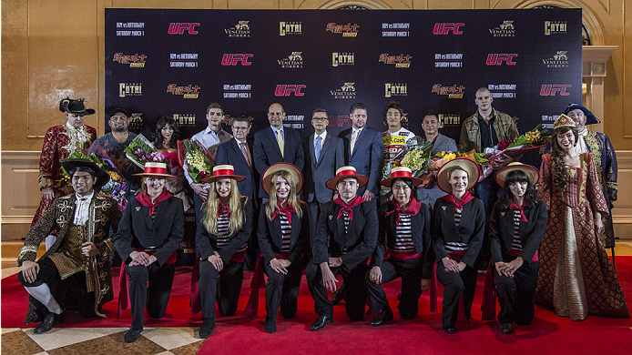 MACAU - FEBRUARY 27:  (L to R) Mark Hunt, Azusa Nishigaki, John Hathaway, Mark Fischer, Dong Hyun Kim and Cung Le pose for media during the UFC Fight Night Macao: Kim vs. Hathaway Media Day at Venetian Macau on February 27, 2014 in Macau, Macau. (Photo by Xaume Olleros/Zuffa LLC)