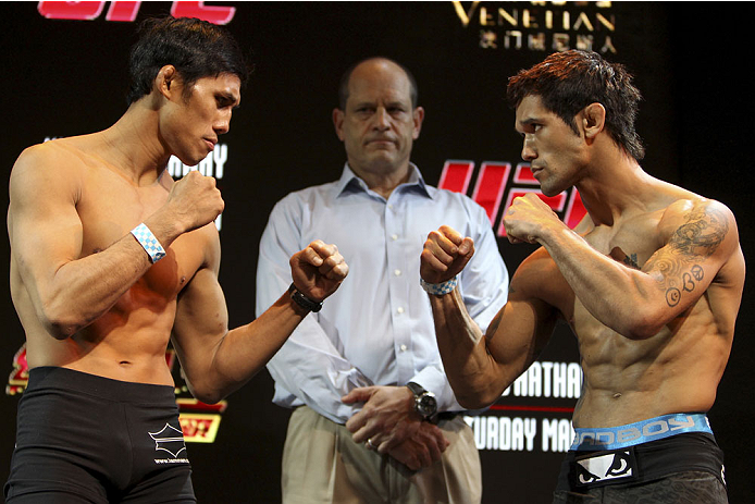 MACAU - FEBRUARY 28:  (L and R) Nam Phan and Vaughan Lee face off during the UFC weigh-in event at the Venetian Macau on February 28, 2014 in Macau. (Photo by Mitch Viquez/Zuffa LLC/Zuffa LLC via Getty Images)