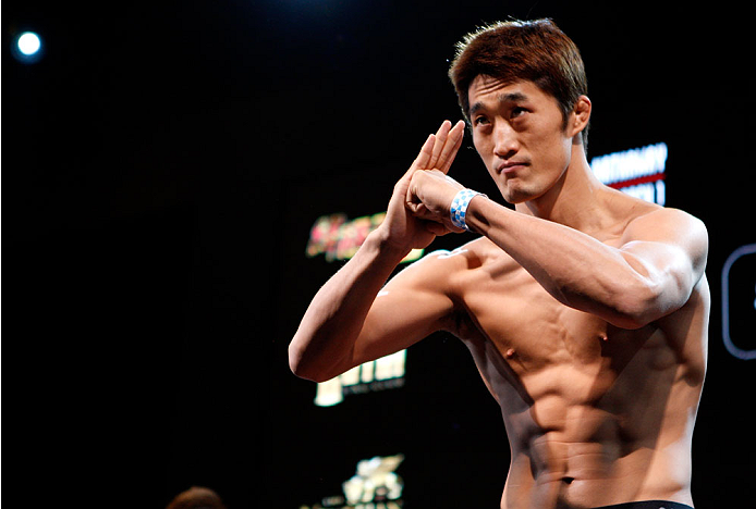 MACAU - FEBRUARY 28:  Dong Hyun Kim during the UFC weigh-in event at the Venetian Macau on February 28, 2014 in Macau. (Photo by Mitch Viquez/Zuffa LLC/Zuffa LLC via Getty Images)