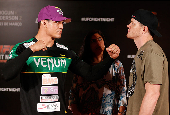 "NATAL, BRAZIL - MARCH 21:  (L-R) Opponents Cezar ""Mutante"" Ferreira and CB Dollaway face off after an open training session for media at the Serhs Natal Grand Hotel on March 21, 2014 in Natal, Brazil. (Photo by Josh Hedges/Zuffa LLC/Zuffa LLC via Getty Images)"