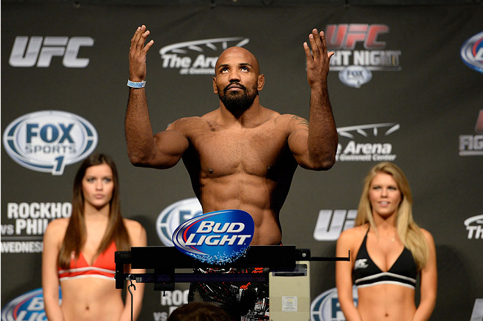 DULUTH, GEORGIA - JANUARY 14:  Yoel Romero steps on the scale during the UFC Fight Night weigh-in event at the Arena at Gwinnett Center on January 14, 2014 in Duluth, Georgia. (Photo by Jeff Bottari/Zuffa LLC/Zuffa LLC via Getty Images)