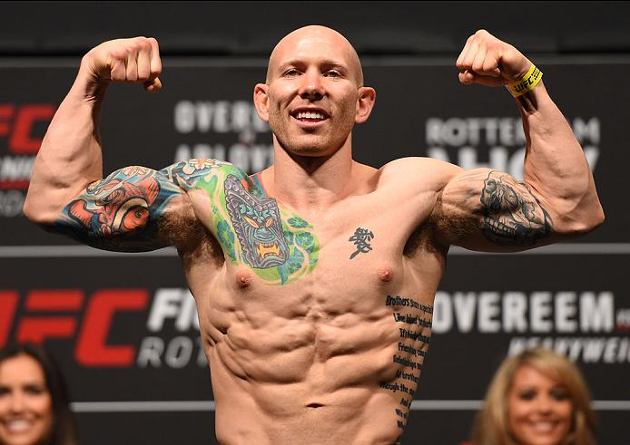 ROTTERDAM, NETHERLANDS - MAY 07:  Josh Emmett  steps on the scale during the UFC weigh-in at Ahoy Rotterdam on May 7, 2016 in Rotterdam, Netherlands. (Photo by Josh Hedges/Zuffa LLC/Zuffa LLC via Getty Images)