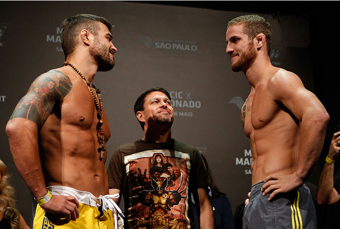 SAO PAULO, BRAZIL - MAY 30:  (L-R) Opponents Ricardo Abreu and Wagner Silva face off during the UFC Fight Night weigh-in at the Ginasio do Ibirapuera on May 30, 2014 in Sao Paulo, Brazil.  (Photo by Josh Hedges/Zuffa LLC/Zuffa LLC via Getty Images)