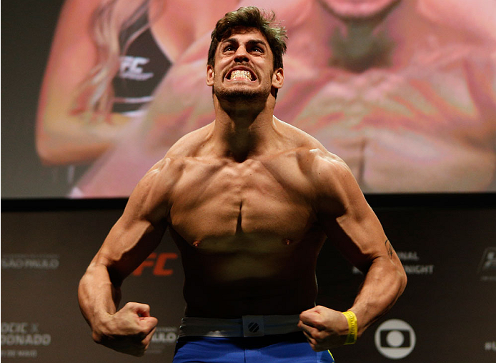 SAO PAULO, BRAZIL - MAY 30:  Antonio Carlos Junior weighs in during the UFC Fight Night weigh-in at the Ginasio do Ibirapuera on May 30, 2014 in Sao Paulo, Brazil.  (Photo by Josh Hedges/Zuffa LLC/Zuffa LLC via Getty Images)