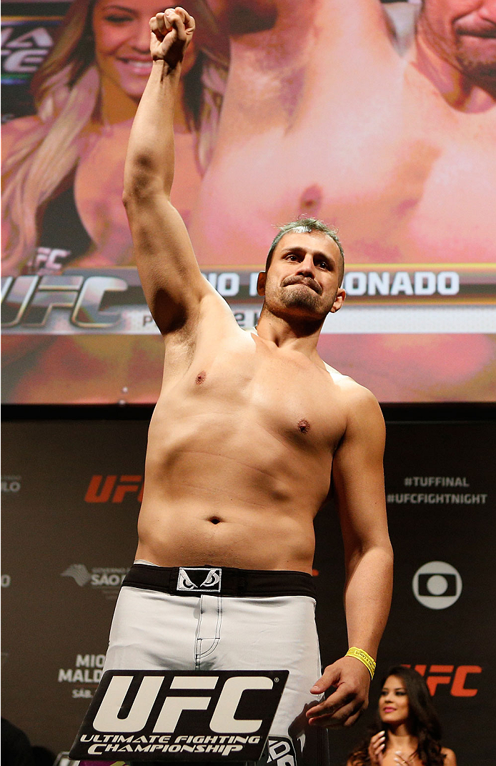 SAO PAULO, BRAZIL - MAY 30:  Fabio Maldonado weighs in during the UFC Fight Night weigh-in at the Ginasio do Ibirapuera on May 30, 2014 in Sao Paulo, Brazil.  (Photo by Josh Hedges/Zuffa LLC/Zuffa LLC via Getty Images)