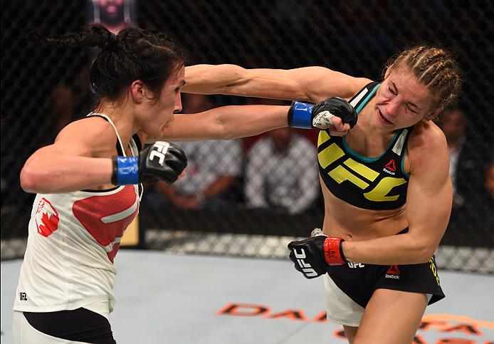 Precisão e potência deram a vitória a Valérie Létorneau sobre Maryna Moroz (Foto: Jeff Bottari/Zuffa LLC)