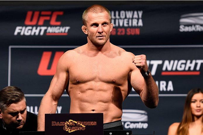 SASKATOON, SK - AUGUST 22:  Misha Cirkunov of Latvia steps on the scale during the UFC weigh-in at the SaskTel Centre on August 22, 2015 in Saskatoon, Saskatchewan, Canada. (Photo by Jeff Bottari/Zuffa LLC/Zuffa LLC via Getty Images)