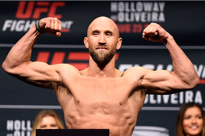 SASKATOON, SK - AUGUST 22:  Josh Burkman of the United States steps on the scale during the UFC weigh-in at the SaskTel Centre on August 22, 2015 in Saskatoon, Saskatchewan, Canada. (Photo by Jeff Bottari/Zuffa LLC/Zuffa LLC via Getty Images)