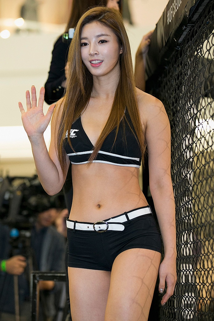 SEOUL, SOUTH KOREA - NOVEMBER 25:  Octagon Girl, Yu Seung-Ok aka Seung Ok Yu poses for fans and media during UFC Fight Night Open Workouts at Times Square on November 25, 2015 in Seoul, South Korea.  (Photo by Han Myung-Gu / Zuffa LLC/Zuffa LLC via Getty Images)