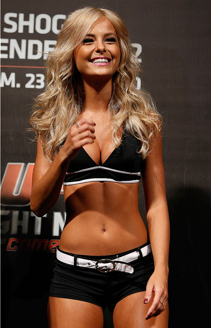 NATAL, BRAZIL - MARCH 22:  UFC Octagon Girl Jhenny Andrade stands on stage during the UFC weigh-in at Ginasio Nelio Dias on March 22, 2014 in Natal, Brazil. (Photo by Josh Hedges/Zuffa LLC/Zuffa LLC via Getty Images)