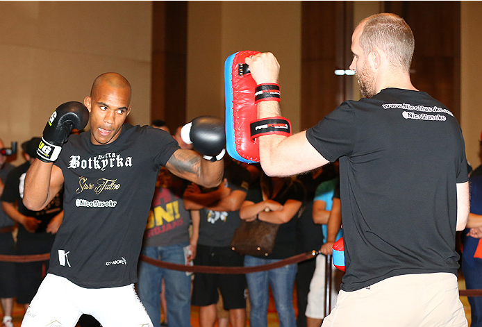 SAN ANTONIO, TX - JUNE 26:  Nico Musoke holds an open training session at the Grand Hyatt San Antonio on June 26, 2014 in San Antonio, Texas. (Photo by Ed Mulholland/Zuffa LLC/Zuffa LLC via Getty Images)