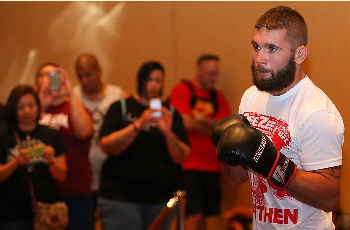 SAN ANTONIO, TX - JUNE 26:  Jeremy Stephens holds an open training session at the Grand Hyatt San Antonio on June 26, 2014 in San Antonio, Texas. (Photo by Ed Mulholland/Zuffa LLC/Zuffa LLC via Getty Images)