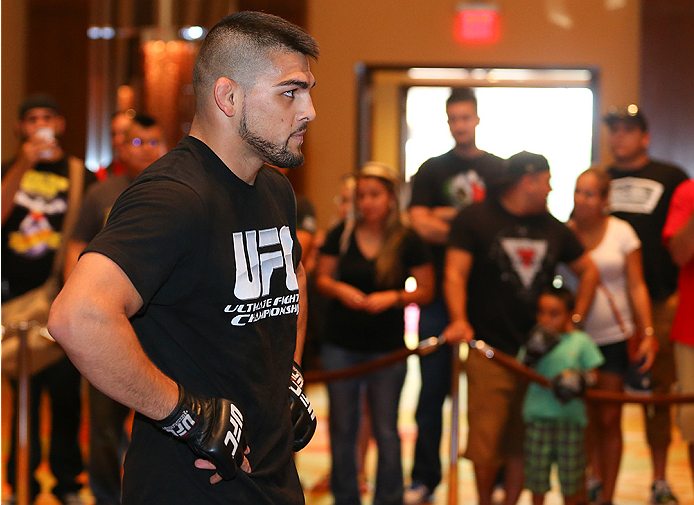 SAN ANTONIO, TX - JUNE 26:  Kelvin Gastelum holds an open training session at the Grand Hyatt San Antonio on June 26, 2014 in San Antonio, Texas. (Photo by Ed Mulholland/Zuffa LLC/Zuffa LLC via Getty Images)
