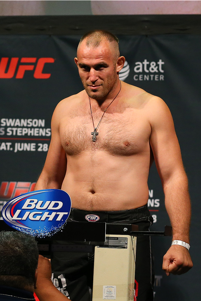SAN ANTONIO, TX - JUNE 27:  Oleksiy Oliynyk steps on the scale during the UFC Fight Night weigh-in at the AT&T Center on June 27, 2014 in San Antonio, Texas. (Photo by Ed Mulholland/Zuffa LLC/Zuffa LLC via Getty Images)