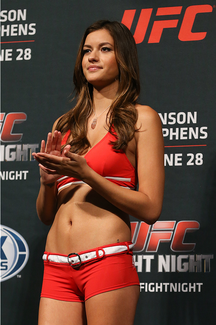 SAN ANTONIO, TX - JUNE 27: Octagon Girl Vanessa Hanson during the UFC Fight Night weigh-in at the AT&T Center on June 27, 2014 in San Antonio, Texas. (Photo by Ed Mulholland/Zuffa LLC/Zuffa LLC via Getty Images)