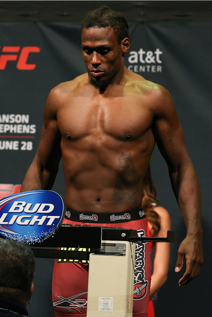 SAN ANTONIO, TX - JUNE 27:  Clint Hester steps on the scale during the UFC Fight Night weigh-in at the AT&T Center on June 27, 2014 in San Antonio, Texas. (Photo by Ed Mulholland/Zuffa LLC/Zuffa LLC via Getty Images)