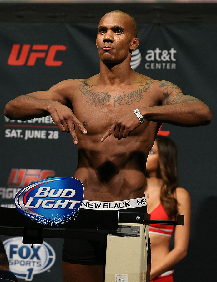 SAN ANTONIO, TX - JUNE 27:  Nico Musoke steps on the scale during the UFC Fight Night weigh-in at the AT&T Center on June 27, 2014 in San Antonio, Texas. (Photo by Ed Mulholland/Zuffa LLC/Zuffa LLC via Getty Images)