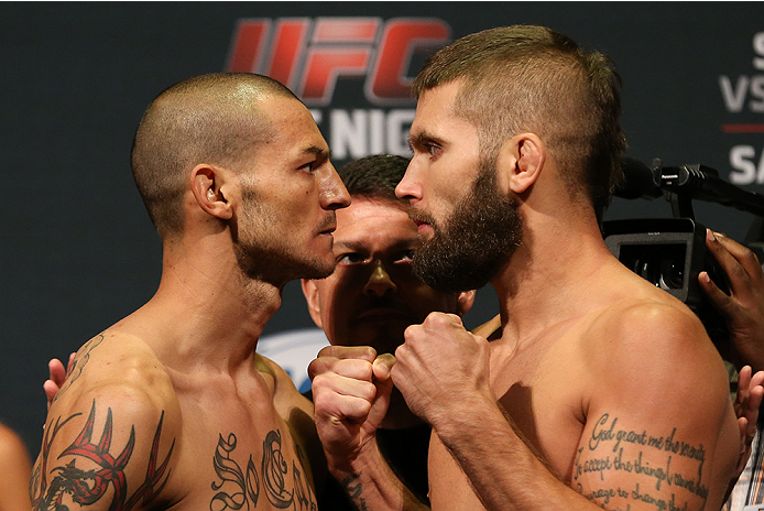 SAN ANTONIO, TX - JUNE 27:  Cub Swanson (left) and Jeremy Stephens (right) pose after weighing in for their UFC Fight Night bout at the AT&T Center on June 27, 2014 in San Antonio, Texas. (Photo by Ed Mulholland/Zuffa LLC/Zuffa LLC via Getty Images)
