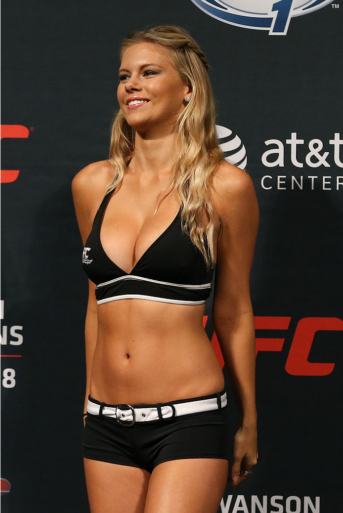 SAN ANTONIO, TX - JUNE 27:  Octagon Girl Chrissy Blair during the UFC Fight Night weigh-in at the AT&T Center on June 27, 2014 in San Antonio, Texas. (Photo by Ed Mulholland/Zuffa LLC/Zuffa LLC via Getty Images)