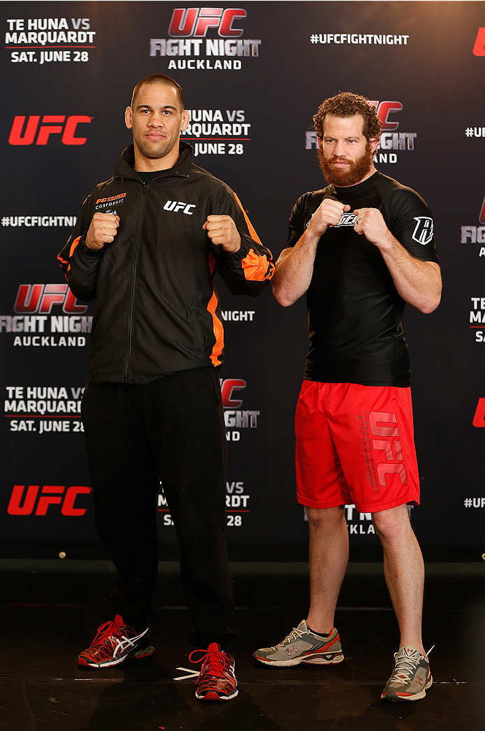 AUCKLAND, NEW ZEALAND - JUNE 26:  (L-R) Opponents James Te Huna and Nate Marquardt pose for photos during the UFC Ultimate Media Day at The Cloud at Queen's Wharf on June 26, 2014 in Auckland, New Zealand.  (Photo by Josh Hedges/Zuffa LLC/Zuffa LLC via Getty Images)
