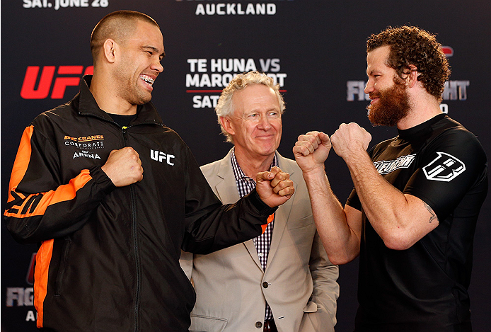 AUCKLAND, NEW ZEALAND - JUNE 26:  (L-R) Opponents James Te Huna and Nate Marquardt face off during the UFC Ultimate Media Day at The Cloud at Queen's Wharf on June 26, 2014 in Auckland, New Zealand.  (Photo by Josh Hedges/Zuffa LLC/Zuffa LLC via Getty Images)