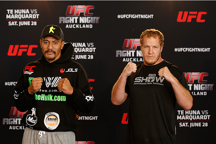 AUCKLAND, NEW ZEALAND - JUNE 26:  (L-R) Opponents Soa Palelei and Jared Rosholt pose for photos during the UFC Ultimate Media Day at The Cloud at Queen's Wharf on June 26, 2014 in Auckland, New Zealand.  (Photo by Josh Hedges/Zuffa LLC/Zuffa LLC via Getty Images)
