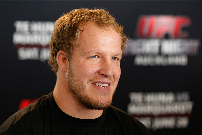 AUCKLAND, NEW ZEALAND - JUNE 26:  Jared Rosholt interacts with media during the UFC Ultimate Media Day at The Cloud at Queen's Wharf on June 26, 2014 in Auckland, New Zealand.  (Photo by Josh Hedges/Zuffa LLC/Zuffa LLC via Getty Images)