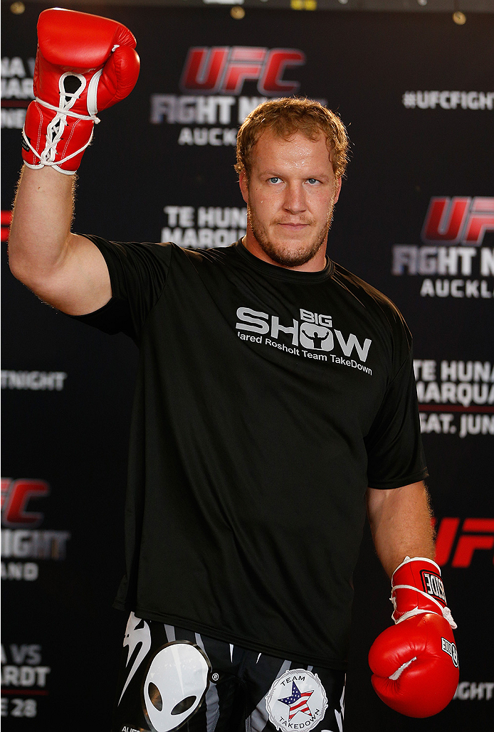 AUCKLAND, NEW ZEALAND - JUNE 26:  Jared Rosholt holds an open training session during the UFC Ultimate Media Day at The Cloud at Queen's Wharf on June 26, 2014 in Auckland, New Zealand.  (Photo by Josh Hedges/Zuffa LLC/Zuffa LLC via Getty Images)