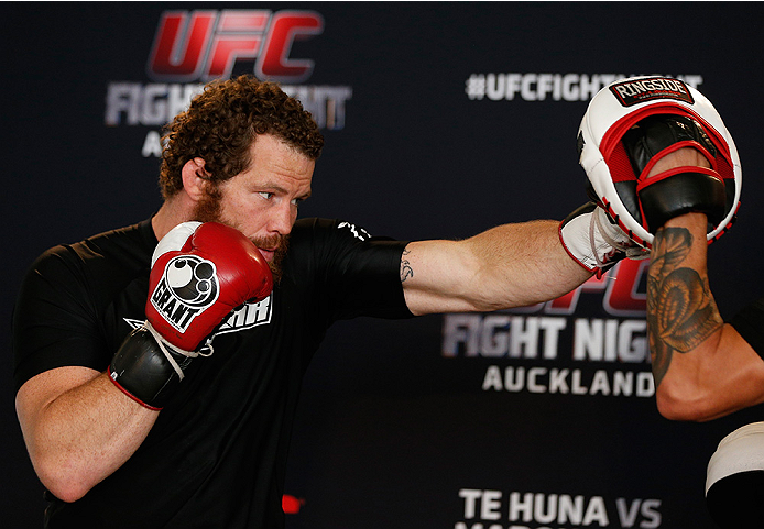 AUCKLAND, NEW ZEALAND - JUNE 26:  Nate Marquardt holds an open training session during the UFC Ultimate Media Day at The Cloud at Queen's Wharf on June 26, 2014 in Auckland, New Zealand.  (Photo by Josh Hedges/Zuffa LLC/Zuffa LLC via Getty Images)