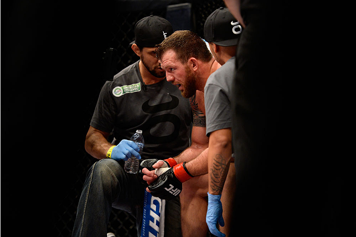 BANGOR, ME - AUGUST 16:  Ryan Bader rests in his corner between rounds against Ovince Saint Preux in their light heavyweight bout during the UFC fight night event at the Cross Insurance Center on August 16, 2014 in Bangor, Maine. (Photo by Jeff Bottari/Zuffa LLC/Zuffa LLC via Getty Images)