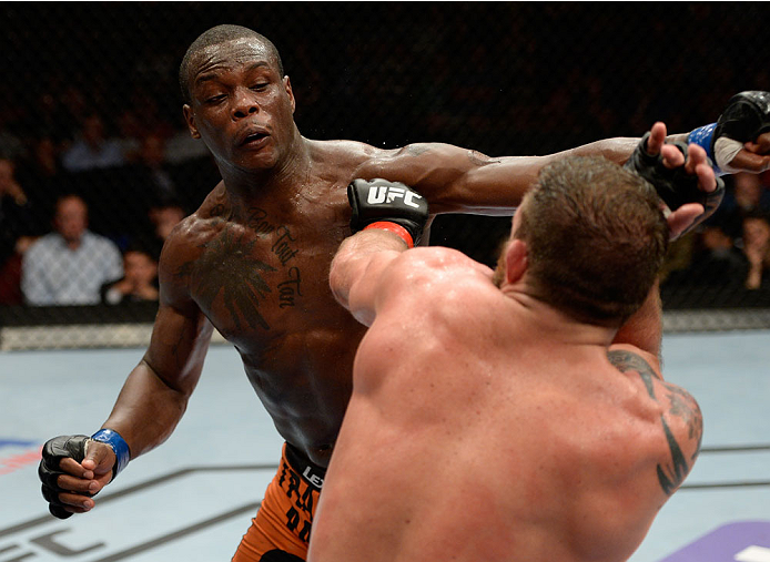 Ovince Saint Preux throws a punch at Ryan Bader in their light heavyweight bout during the UFC fight night event at the Cross Insurance Center on August 16, 2014 in Bangor, Maine. (Photo by Jeff Bottari/Zuffa LLC)