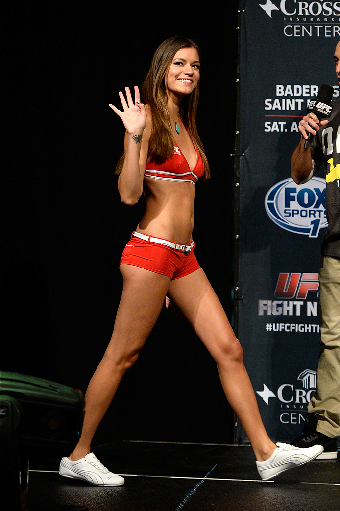 BANGOR, ME - AUG 15:  UFC Octagon Girl Vanessa Hanson walks on stage during the UFC fight night weigh-in at the Cross Insurance Center on August 15, 2014 in Bangor, Maine. (Photo by Jeff Bottari/Zuffa LLC/Zuffa LLC via Getty Images)