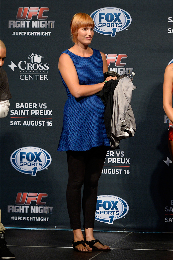 BANGOR, ME - AUG 15:  Model McKey Sullivan stands on stage during the UFC fight night weigh-in at the Cross Insurance Center on August 15, 2014 in Bangor, Maine. (Photo by Jeff Bottari/Zuffa LLC/Zuffa LLC via Getty Images)