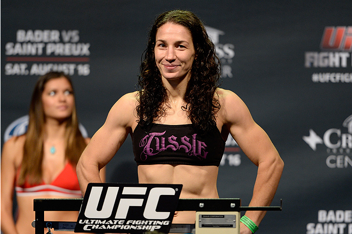 BANGOR, ME - AUG 15:  Sara McMann steps on the scale during the UFC fight night weigh-in at the Cross Insurance Center on August 15, 2014 in Bangor, Maine. (Photo by Jeff Bottari/Zuffa LLC/Zuffa LLC via Getty Images)