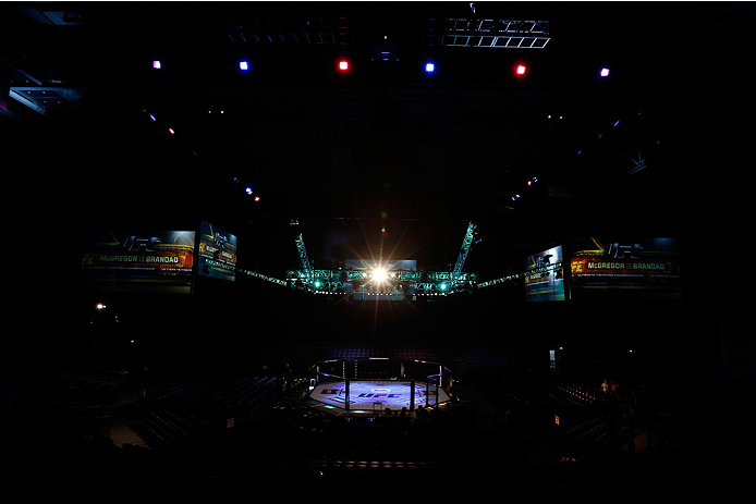 DUBLIN, IRELAND - JULY 19:  A general view of the Octagon before the UFC Fight Night event at The O2 Dublin on July 19, 2014 in Dublin, Ireland.  (Photo by Josh Hedges/Zuffa LLC/Zuffa LLC via Getty Images)
